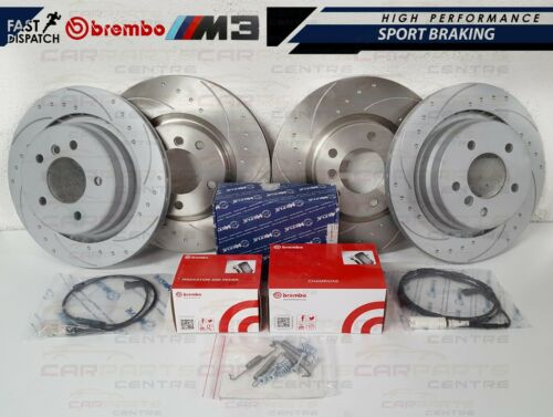 BMW E36 M3 EVO FRONT REAR DIMPLED AND GROOVED BRAKE DISC DISCS BREMBO PADS SHOES