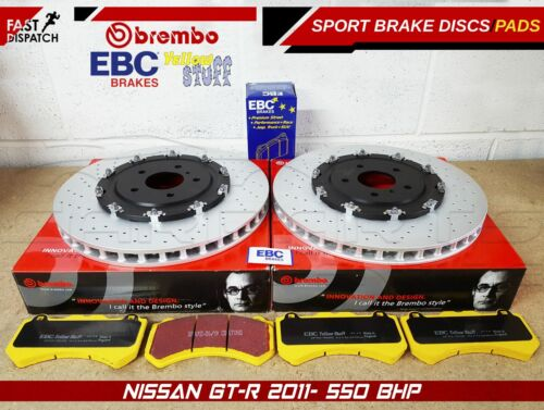NISSAN GTR 2011- FRONT BREMBO 2 PIECE FLOATING BRAKE DISCS EBC YELLOW STUFF PADS