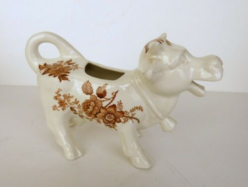 Vintage Brown & White Cow Creamer Flower Design Made in England