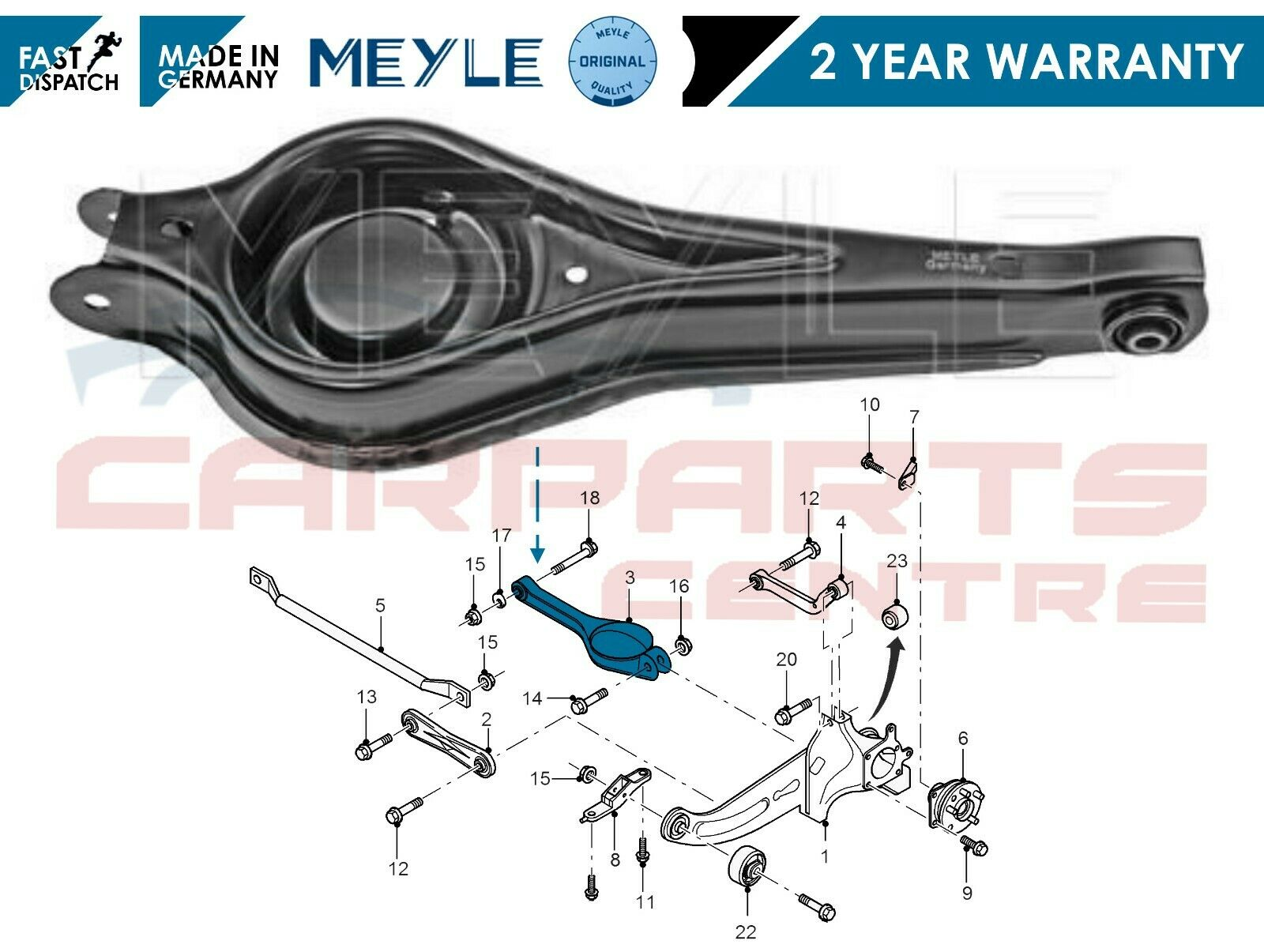 FOR FORD MONDEO MK3 ESTATE REAR LOWER SUSPENSION CONTROL ARM WITH BUSH HD