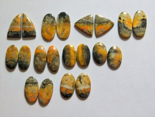 246.85 Cts Natural Bumble Bee Jasper 10 Pair Lot Cabochon Match Pair 10