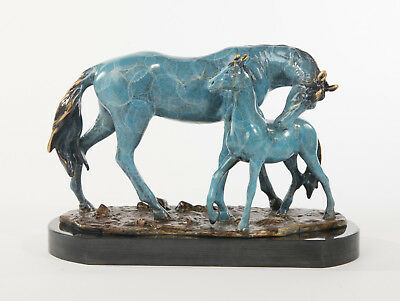 Equestrian Horse Foal Signed and Numbered Sculpture Barn Ranch Art Bronze Marble