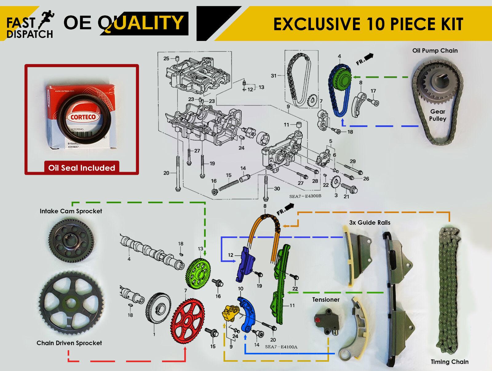 For Honda Accord Civic Crv Frv 22 Ctdi Diesel Full Timing Chain Kit Belt On 2003 Saab Tensioner