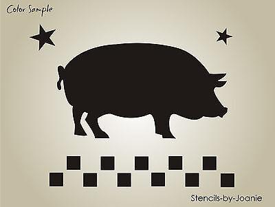Pig Crafts (Joanie Stencil Country Market Pig Check Border Star Prim Kitchen Porch Farm)