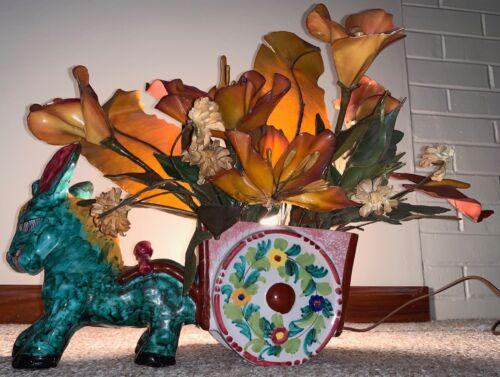 Rare Vintage Donkey Burro Cart Flowers Ceramic TV Lamp Mid Century Modern Italy