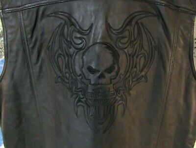 Harley Davidson  Willie G Skull  Leather Vest  Men's 2XL  97076-09VM  Xlent Cond