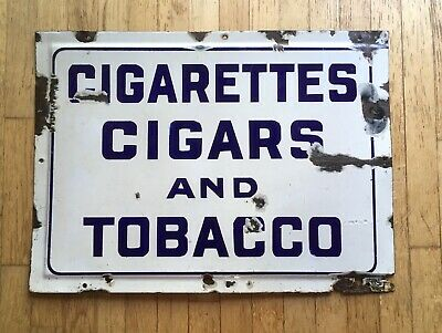 "C1910-30 Rare Original Cigarettes Cigars Tobacco Porcelain Store Sign 26"" X 19"" Cigarettes Tobacco Cigars"