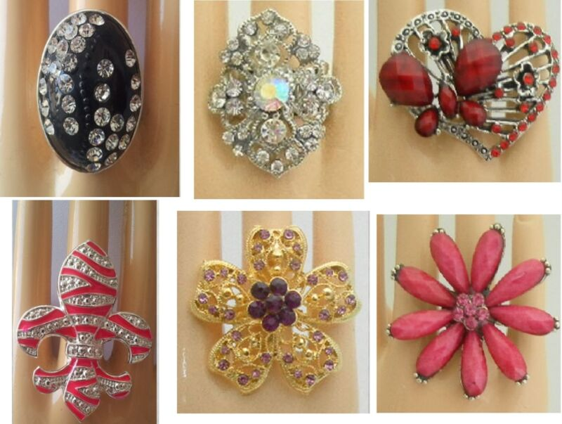 A-30  WHOLESALE FASHION LOT 10 PCS CHIC COCKTAIL COSTUME JEWELRY RINGS