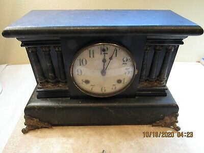 Antique Waterbury Pendulum Mantle Clock w/ Chime & Bell Includes Key