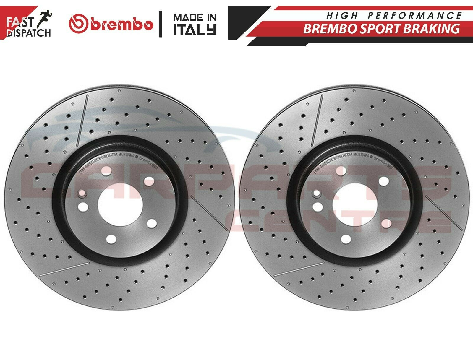 FOR MERCEDES A45 AMG REAR DRILLED GROOVED PERFORMANCE BRAKE DISCS BRAKING