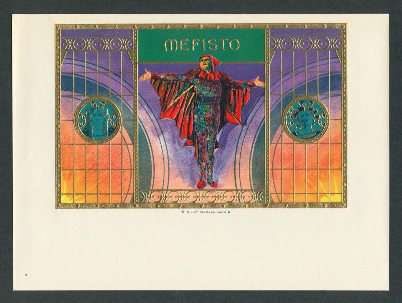 Mefisto Art Nouveau Faustian Devil on Original Antique Vintage Cigar Box Label