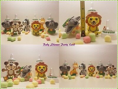 12 Fillable Bottles Baby Shower Boy or Girl Favors Prizes Safari Jungle Animals
