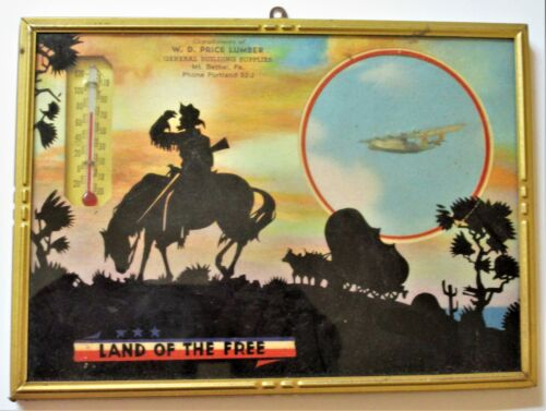 c1943 Advertising W.D. PRICE LUMBER CO. MT. BETHEL, PA. FRAMED SCENE THERMETER 1
