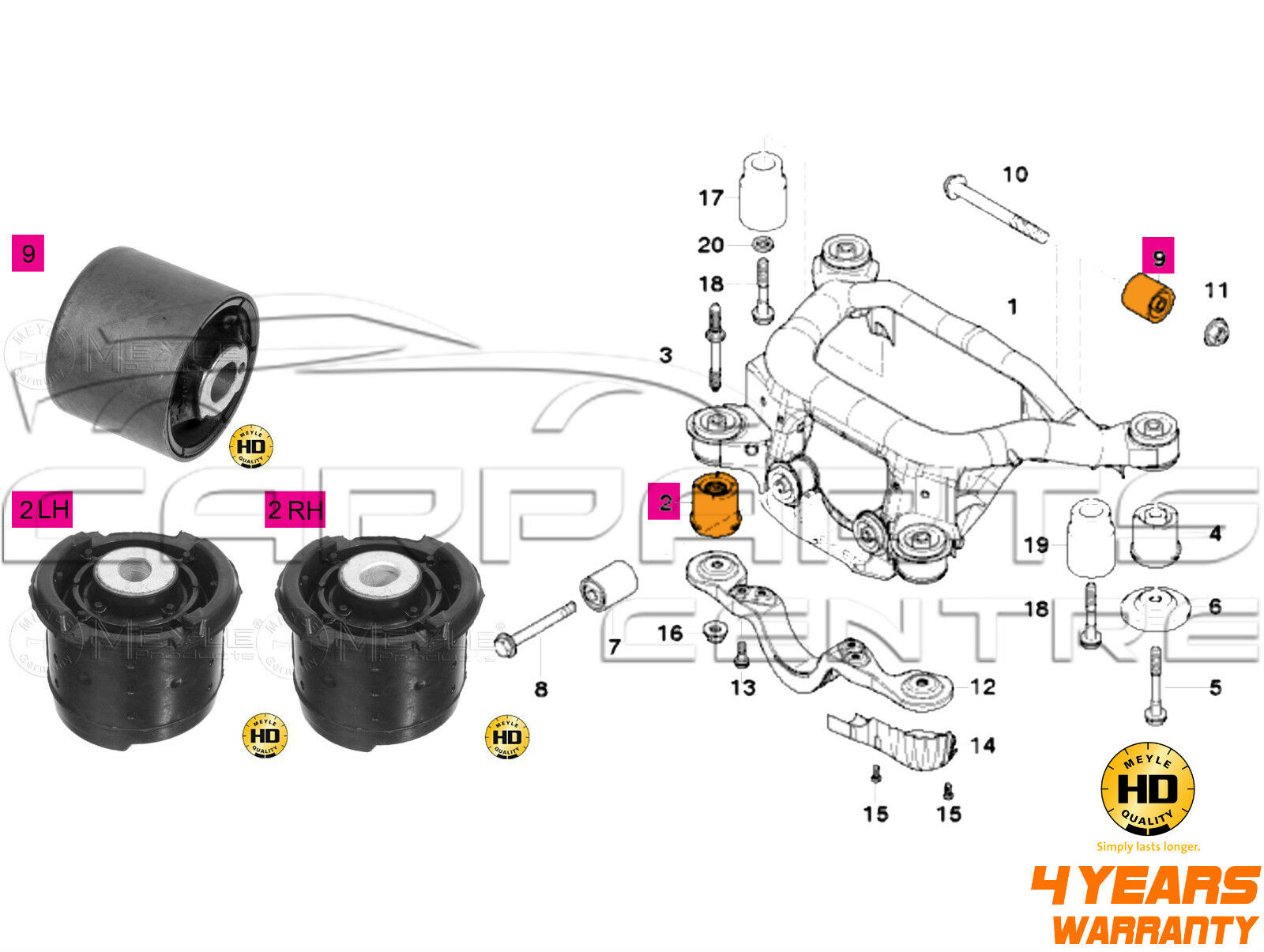 for bmw 3 e46 rear axle trailing subframe diff arm bushes. Black Bedroom Furniture Sets. Home Design Ideas
