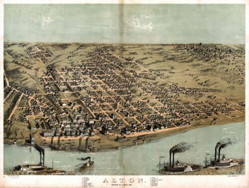 1867 ALTON Madison County ILLINOIS panoramic map GENEALOGY poster IL1