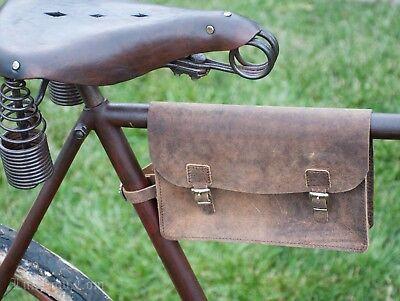 Vintage Brown Leather Bicycle Frame TOOL BAG POUCH Schwinn RoadBike Fixie Basket