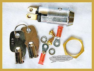 Alarm System Key Switch - Large Round Key Maintained 2-keys Spst 4amp 125