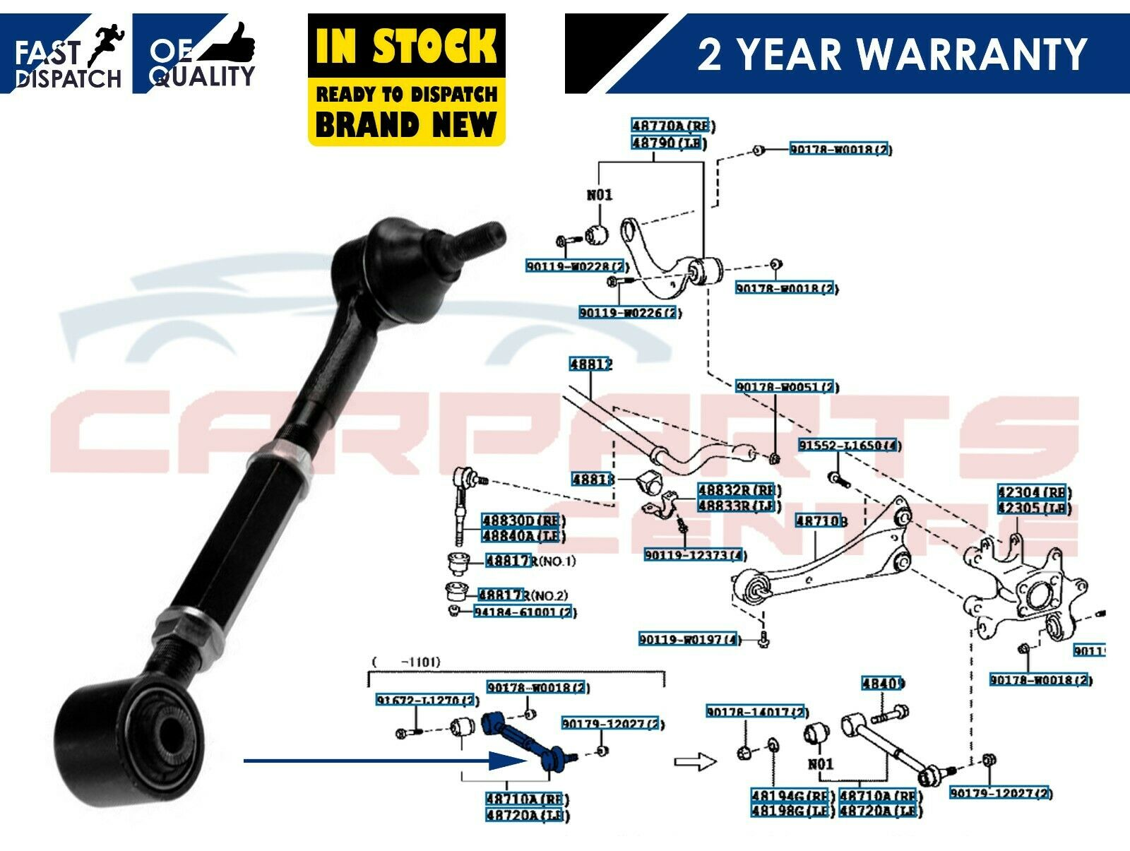 FOR TOYOTA AURIS AVENSIS 07-11 REAR LEFT OR RIGHT TRACK CONTROL WISHBONE ARM