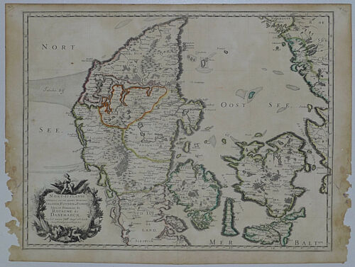 1659 Genuine Antique map Denmark, Nort-Iutlande, Funen, Danemarck. N. Sanson