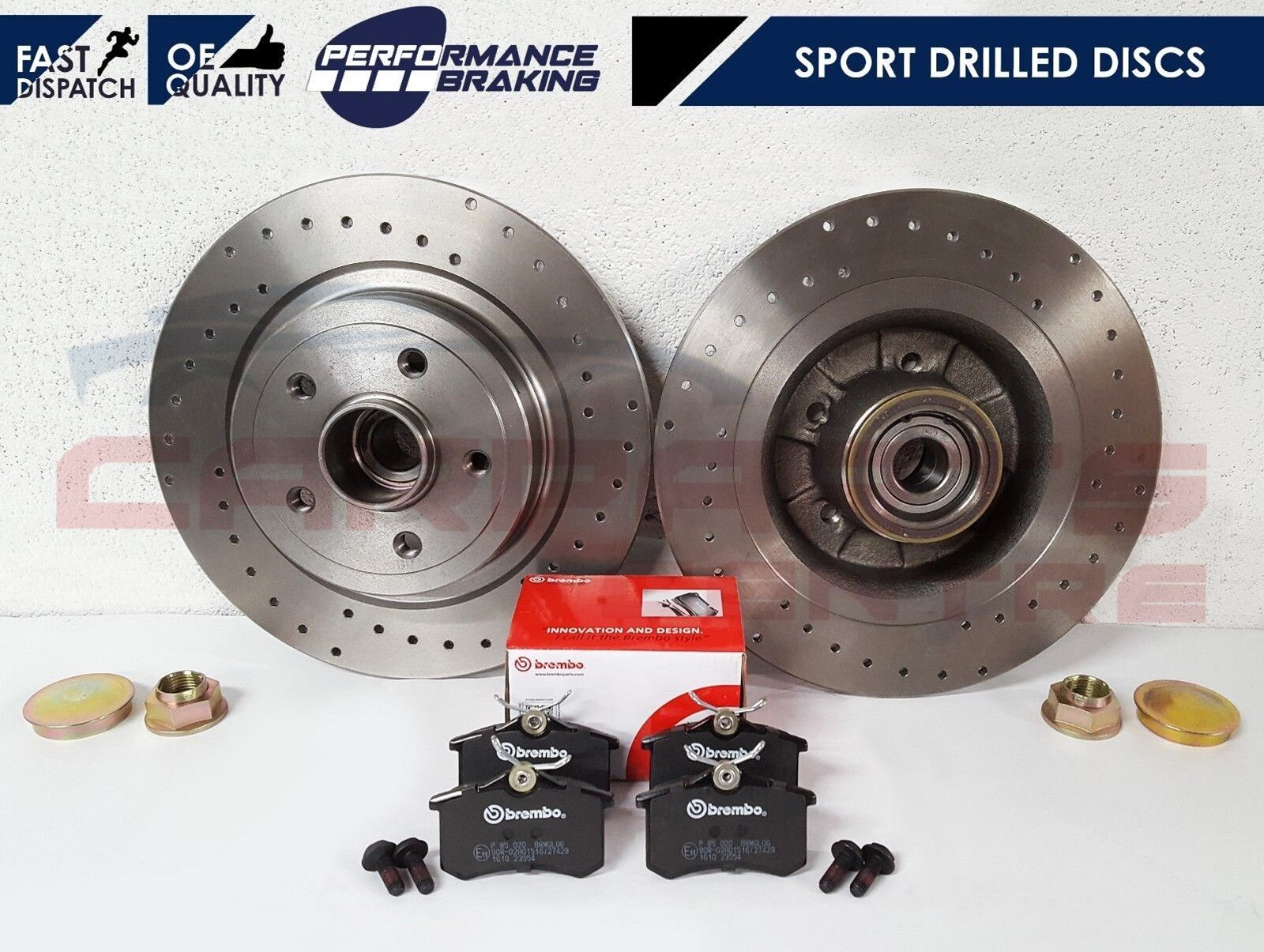 Drilled /& Grooved FRONT Brake Discs RENAULT CLIO III 2.0 16V Sport 2006-On