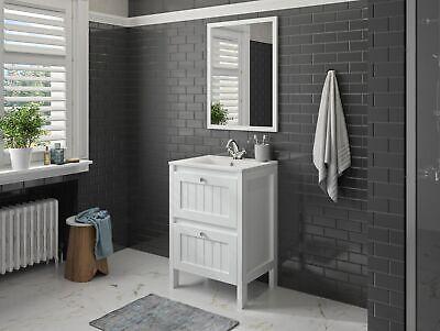 Mueble Set Armario Inferior Lavabo Espejo Preensamblado 60CM Blanco ALLIBERT
