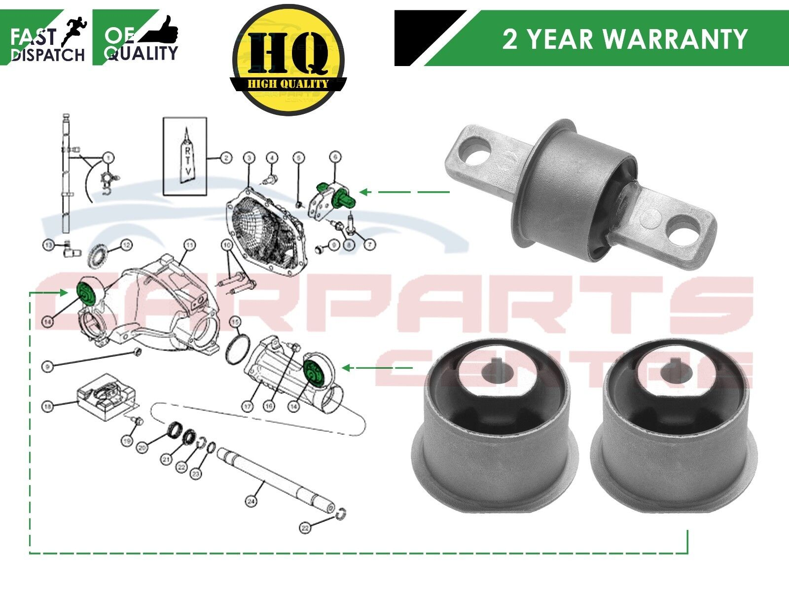 For Jeep Grand Cherokee Commander Front Rear Differential Mounting Timing Belt 2006 Laredo Bushes Set