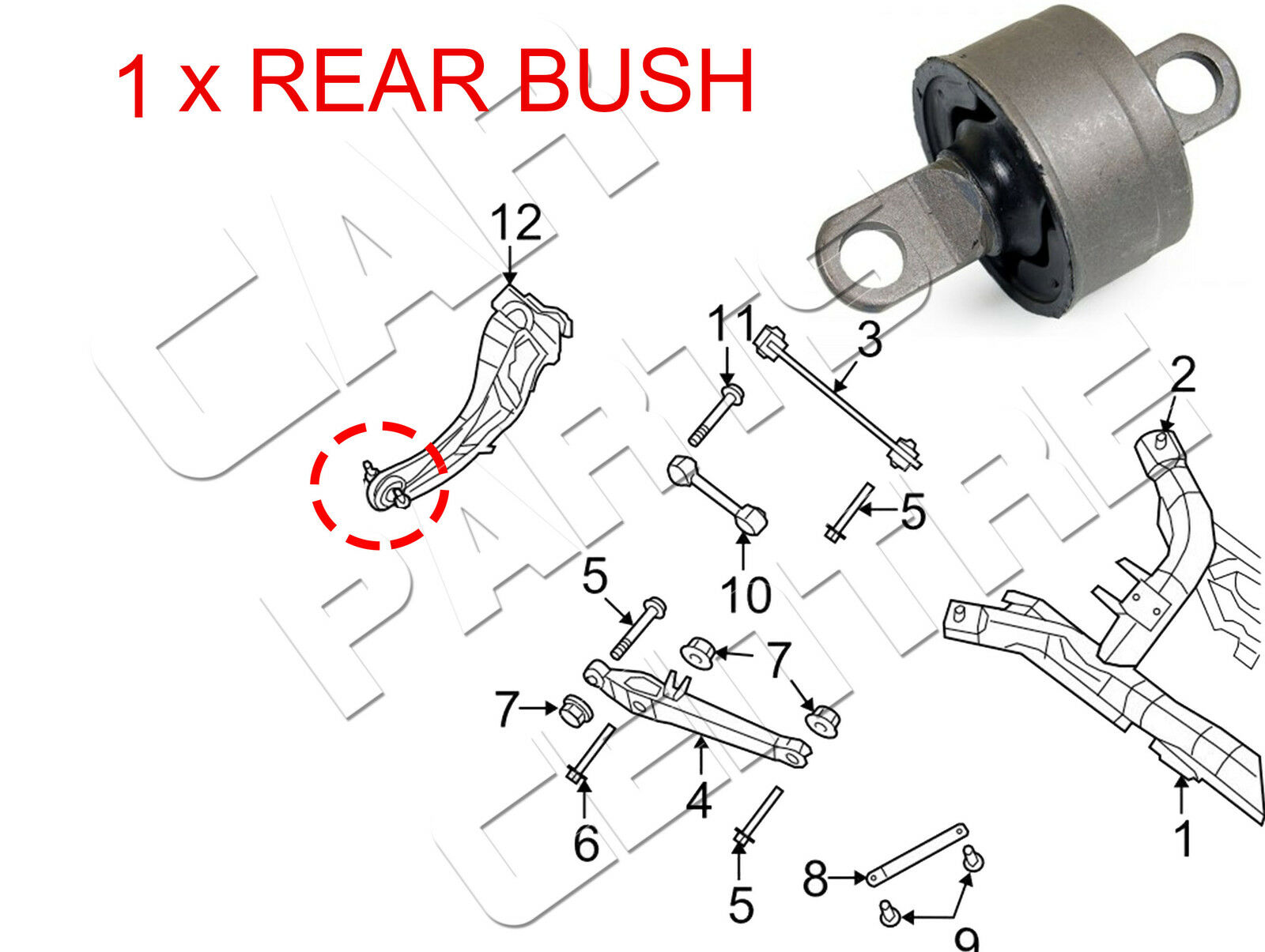 For Jeep Dodge 2007 Rear Axle Lower Trailing Arm Front