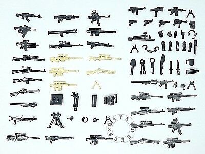 Police Custome (52pc Custom Guns Lot WW2 Military Swat Police Army Weapons for LEGO Mini)