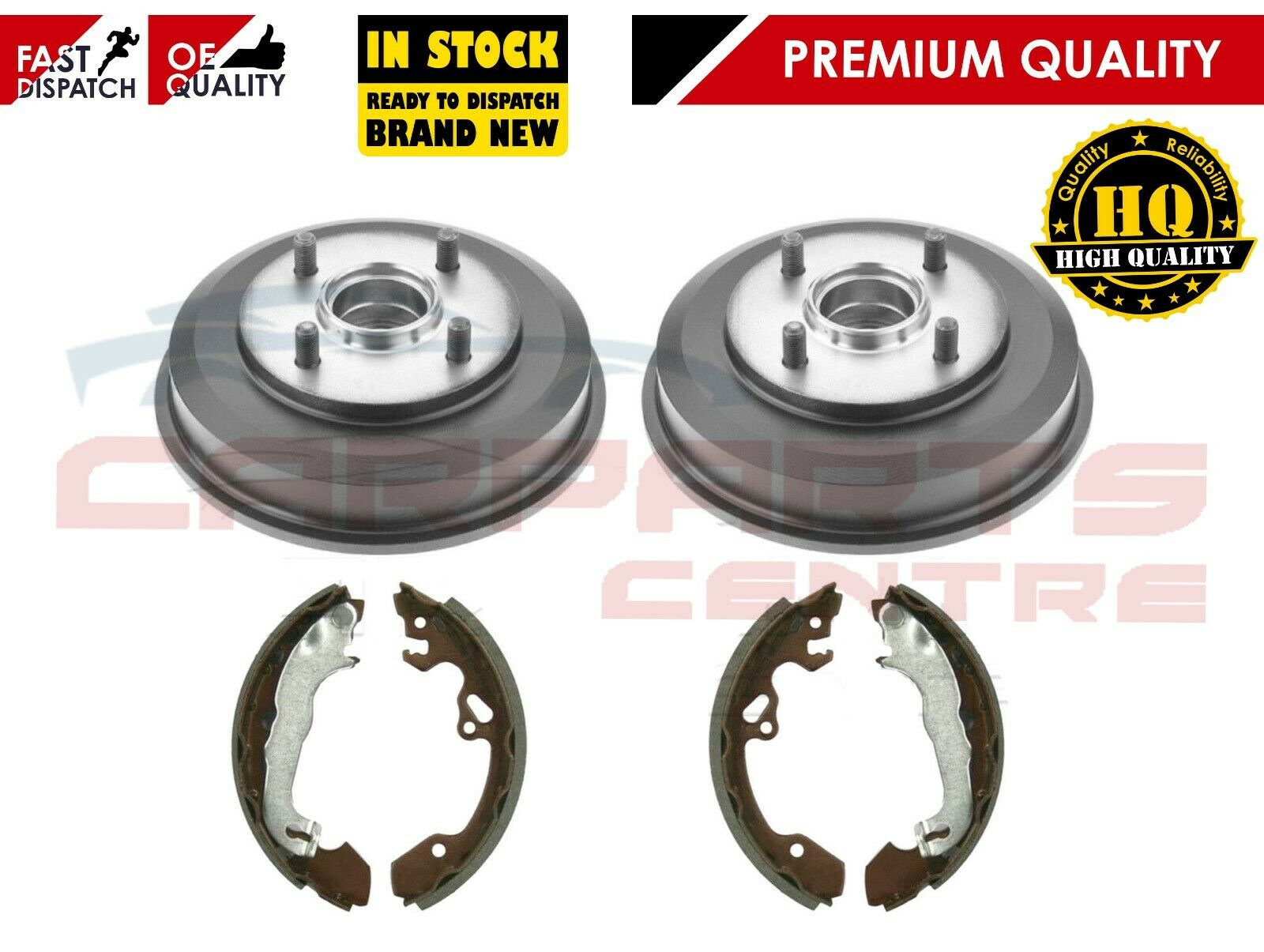 FORD FOCUS MK1 98-04 TWO REAR BRAKE DRUMS WITH FITTED BEARINGS AND 4 BRAKE SHOES
