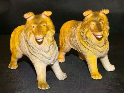 """1974 Imperial Toy Co. """"Collie"""" 2 Dog Figurines"""