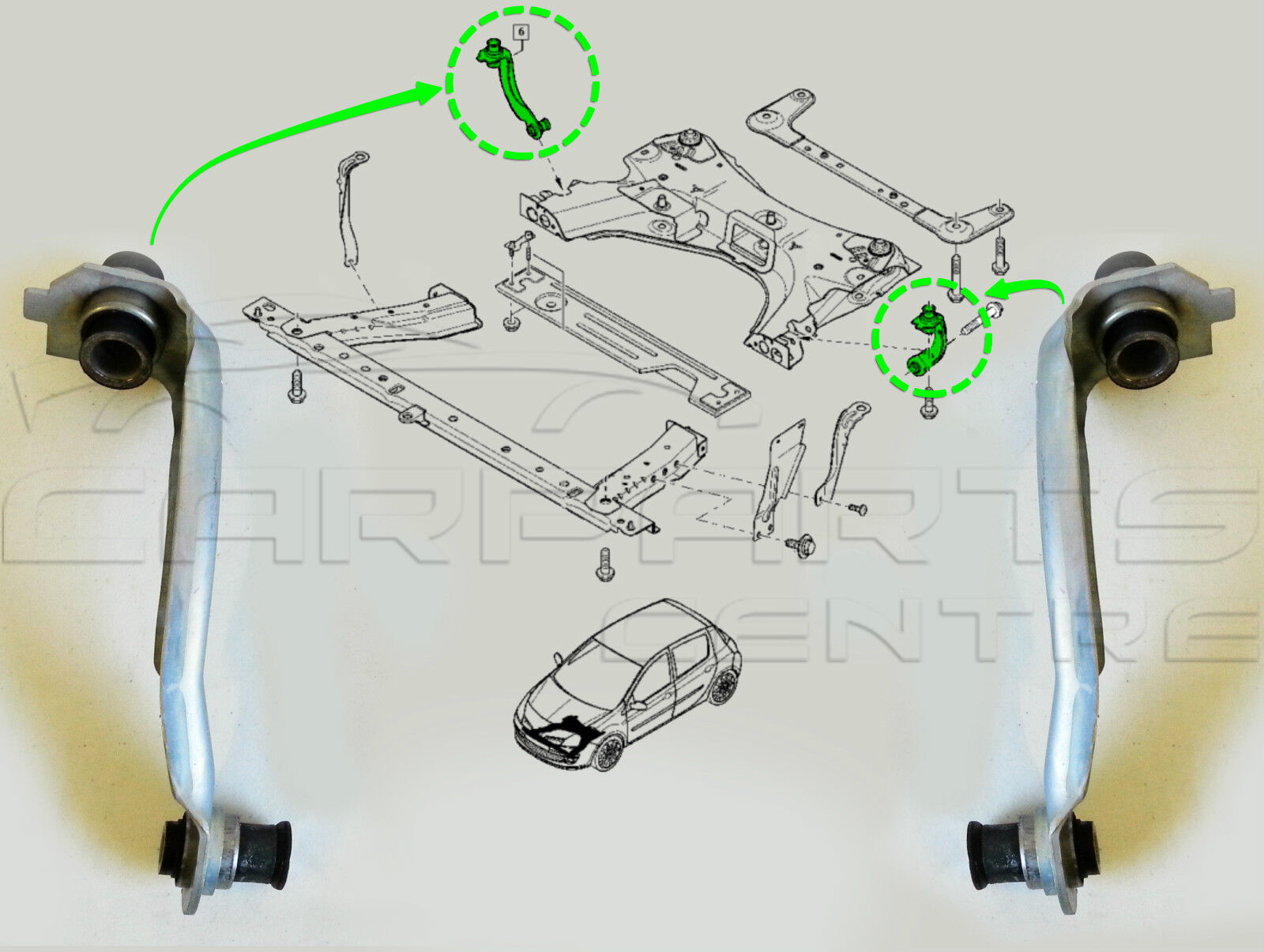 Renault Clio MK 3 2005-deux Front Lower Wishbone ARMS /& deux Anti Roll Bar Links