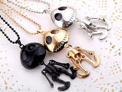 Jack Skellington, nightmare before Christmas skeleton necklace black gold silver