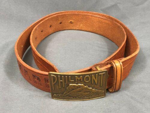 Philmont Vintage Boy Scouts Cimarron Tooled Brown Leather Belt With Buckle Sz 38