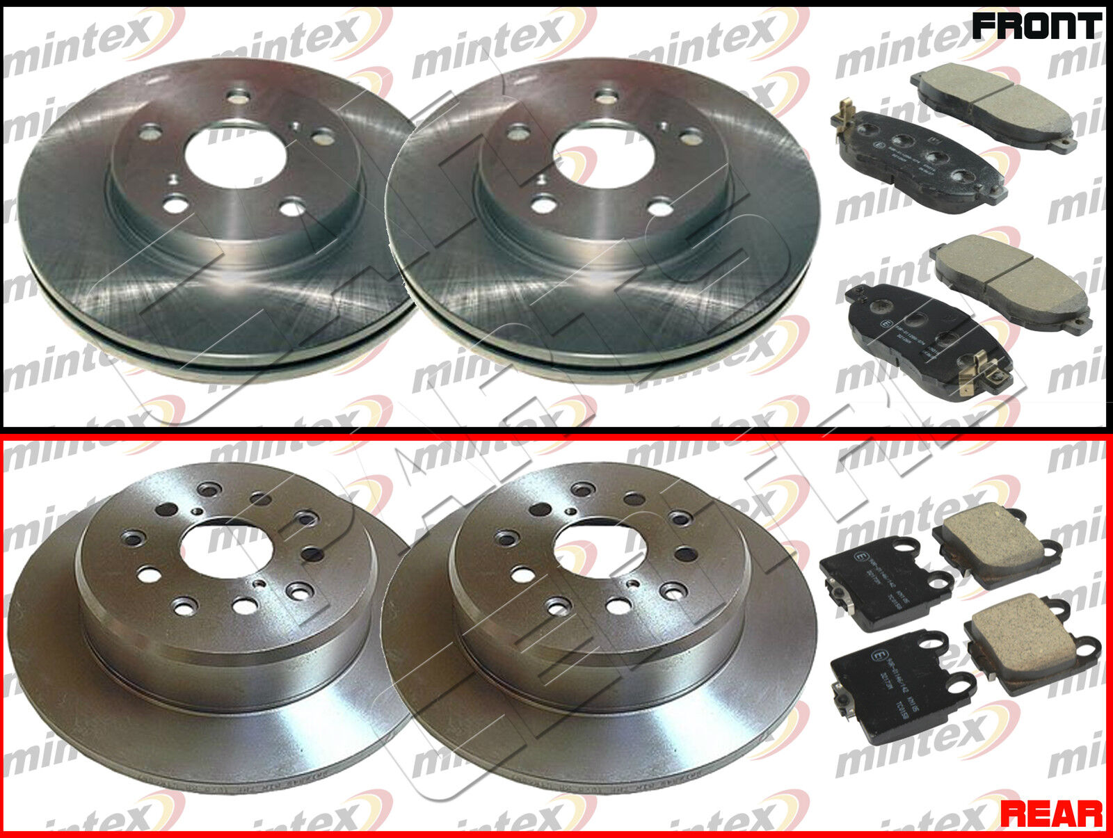 FOR LEXUS IS200 ALTEZZA 2.0i FRONT and REAR MINTEX BRAKE DISC DISCS PAD PADS SET