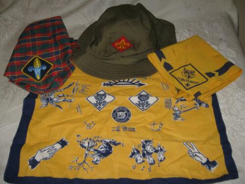Boy Cub Scout Oscar de la Renta Bucket Hat Olive, 2 Neckerchiefs, Pocket Square