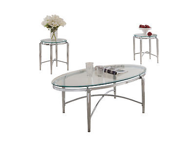 3 Piece Glass Coffee Table - Pilaster Designs - 3 Piece  and Glass Coffee Table & 2 End Tables Occasional Set