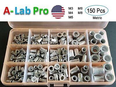 Aluminumrivet Nutkit Metric Rivnut Nutsert Assort M3 M4 M5 M6 M8 Pack 150pcs