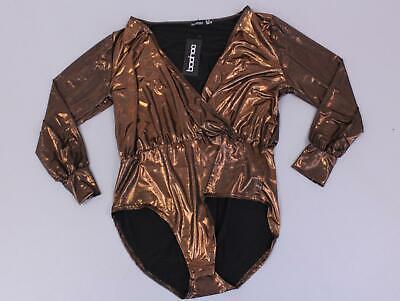 boohoo Women's Plus Metallic Wrap Plunge Bodysuit SV3 Bronze Size US:14 NWT