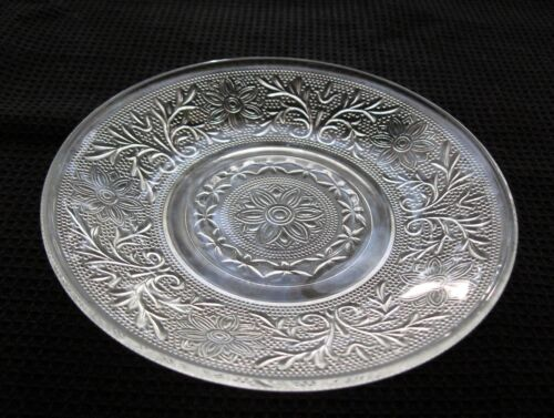 """Anchor Hocking Glass Clear Sandwich 5 3/4"""" Cup Saucer Under Plate"""