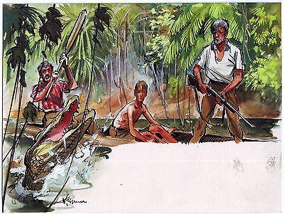 Originalzeichnung Gemälde Krokodil um 1955 Wilhelm Eigener Tiermaler signiert