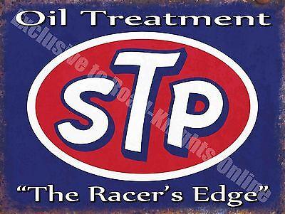 Vintage Garage STP Engine Oil, 62 Car Petrol, Racer's edge, Large Metal Tin Sign
