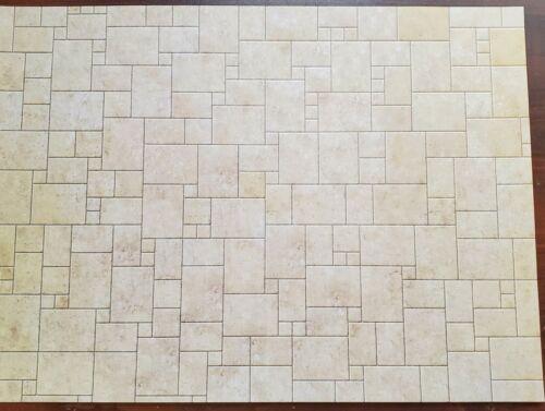 Dollhouse Miniature Limestone Tile Random Squares Embossed Card 1:12 Scale Floor