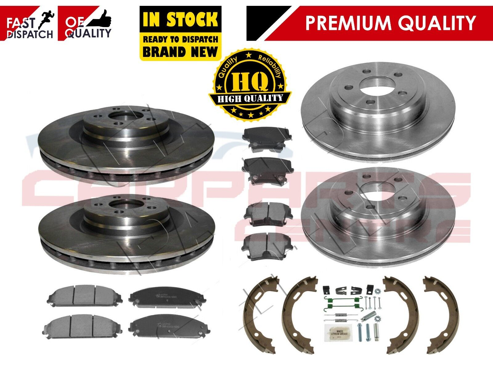 FOR CHRYSLER PT CRUISER REAR BRAKE DISCS PADS HANDBRAKE HAND BRAKE PARKING SHOES