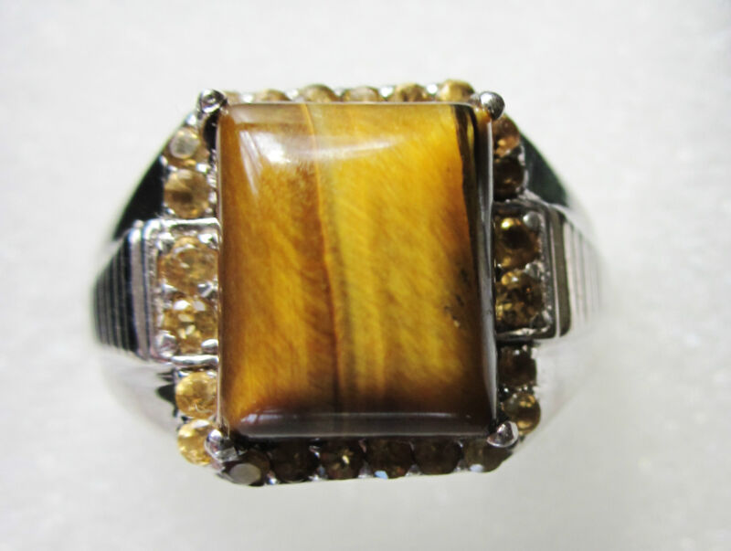 Tigers Eye & Citrine Ring, Sterling Silver sz 9 ---- 7.05cts / 9.2g