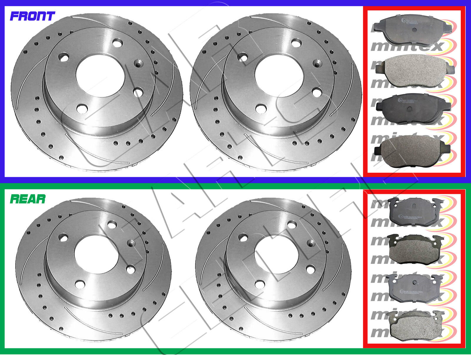 Peugeot 306 SW 1.8 100 Rear Brake Pads Discs 247mm Solid