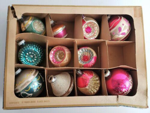 11 Vintage SHINY BRITE and POLAND Christmas Tree Ornaments Reflector Balls