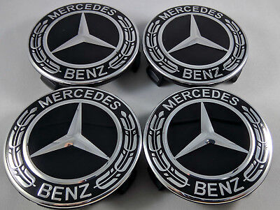 4 PC SET Mercedes Benz Wheel Center Caps Emblem Black and Chrome Hubcaps 75MM