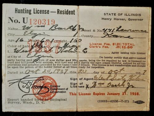Vintage 1937, State of Illinois Hunting License
