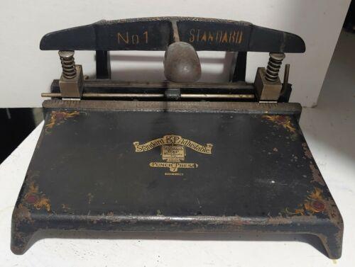 Antique Vintage Boorum & Pease Cast Iron Standard No.1 Punch Press