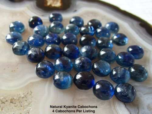 Natural Kyanite 8mm Round Cabochon, 4 Cabochons, 8mm Round Cabochons